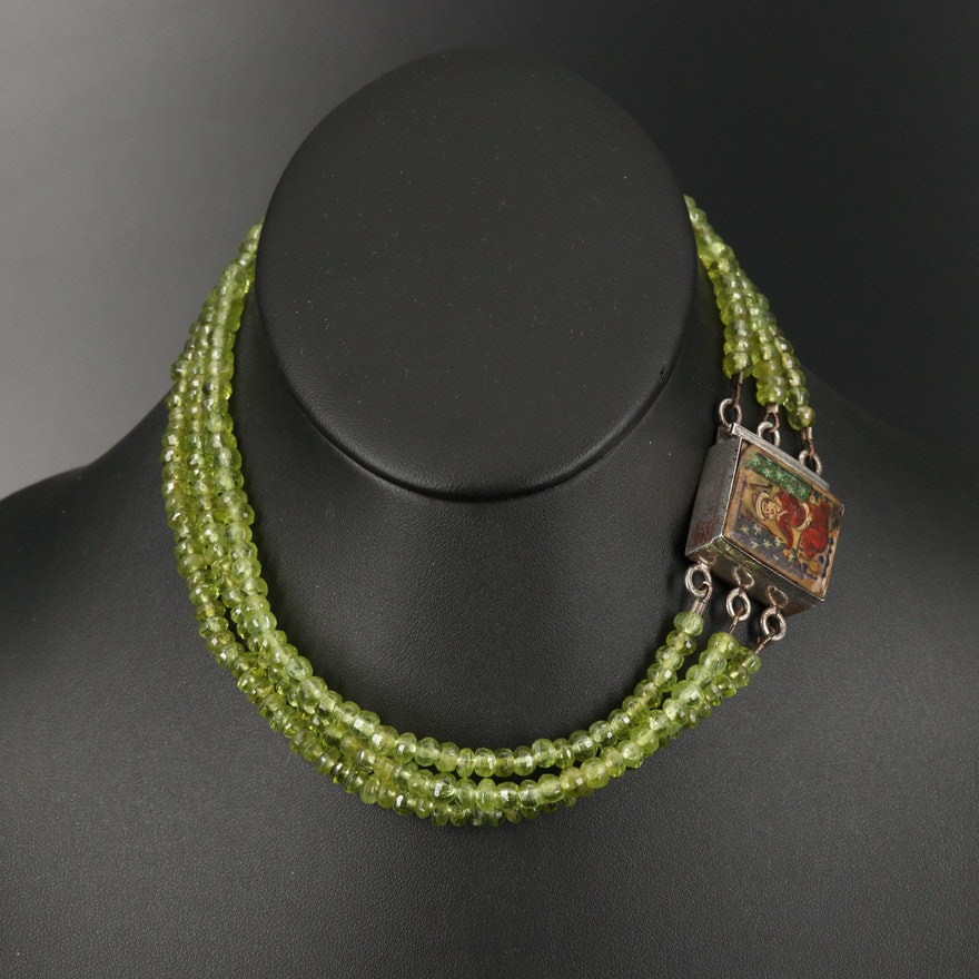 Multi-Strand Beaded Peridot Necklace Featuring Painted Mother of Pearl Clasp