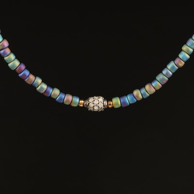 Sterling Diamond and Glass Beaded Necklace