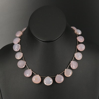 Sterling Chalcedony Station Necklace