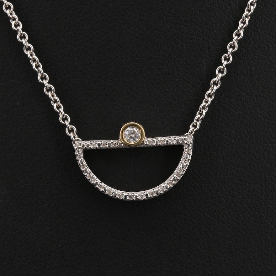 Sterling Diamond Half Circular Pendant Necklace with 10K Accent