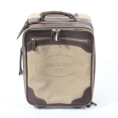 Prada Canapa Canvas and Leather Trolley Suitcase