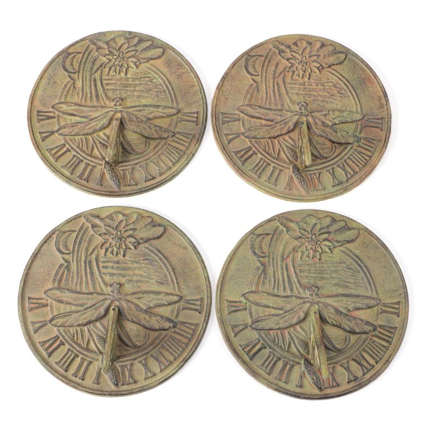 Four Art Nouveau Style Cast Iron Dragonfly Motif Sundials