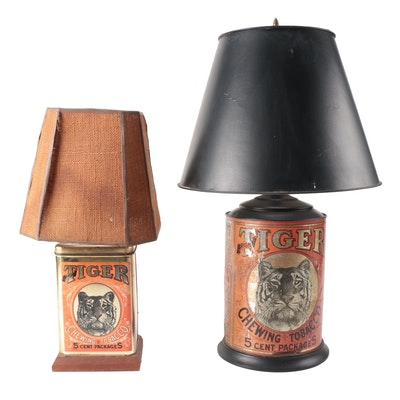 Tiger Chewing Tobacco Tin Converted Table Lamps