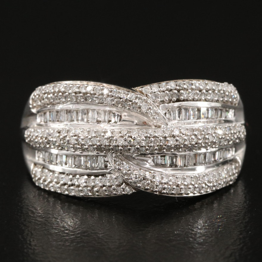 Sterling Pavé and Channel Set Diamond Ring