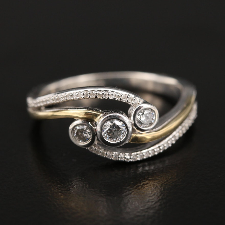 Sterling Diamond Bypass Ring with 10K Accent