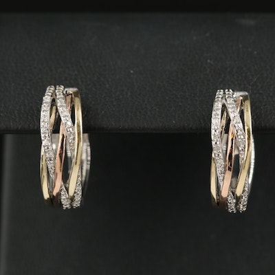 Sterling Diamond Hoop Earrings with 10K Rose Gold Crossover Accents