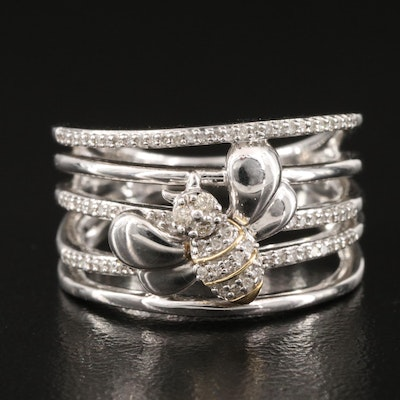 Sterling Diamond Multi-Row Bee Ring with 10K Accent