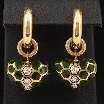 18K Hoop Earrings with Removable Diamond and Enamel Heart Enhancers