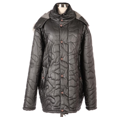 Versace Jeans Couture Winter Coat with Detachable Fur-Trimmed Hood
