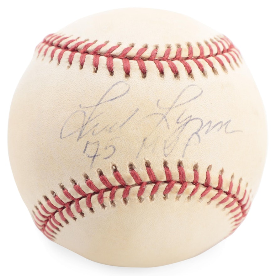 "Fred Lynn Signed ""75 MVP"" Signed Rawlings American League Baseball, COA"