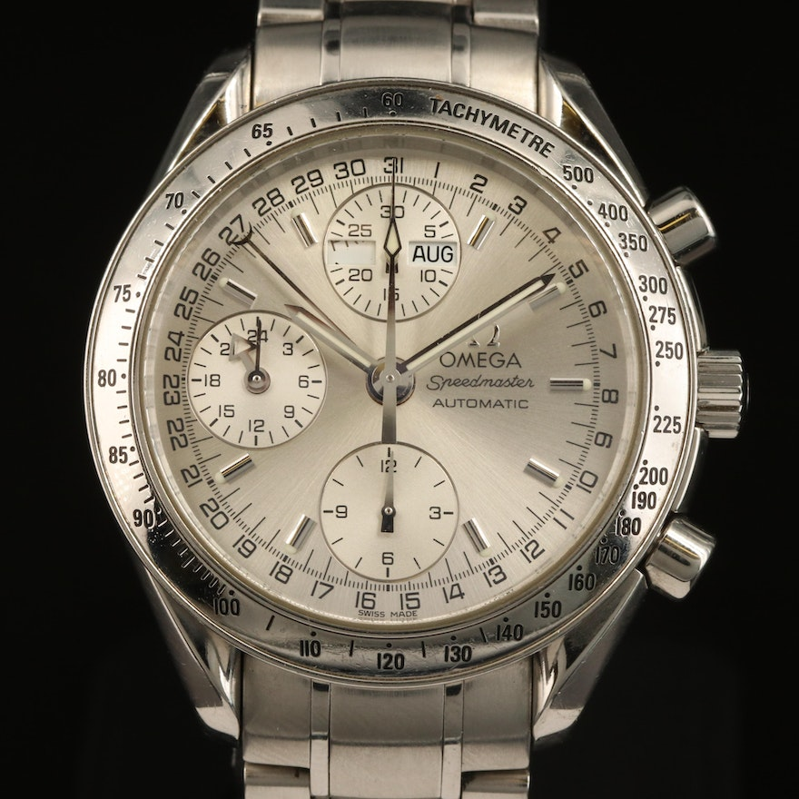 1998 Omega Speedmaster Day-Date Stainless Steel Automatic Wristwatch
