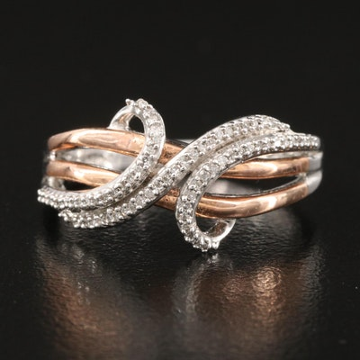 Sterling Diamond Wave Ring with 10K Accents