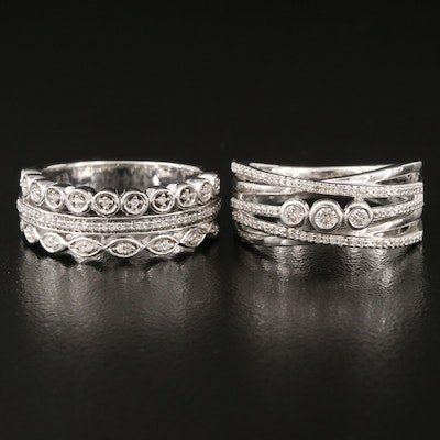 Sterling Diamond Multi-Row and Crossover Rings