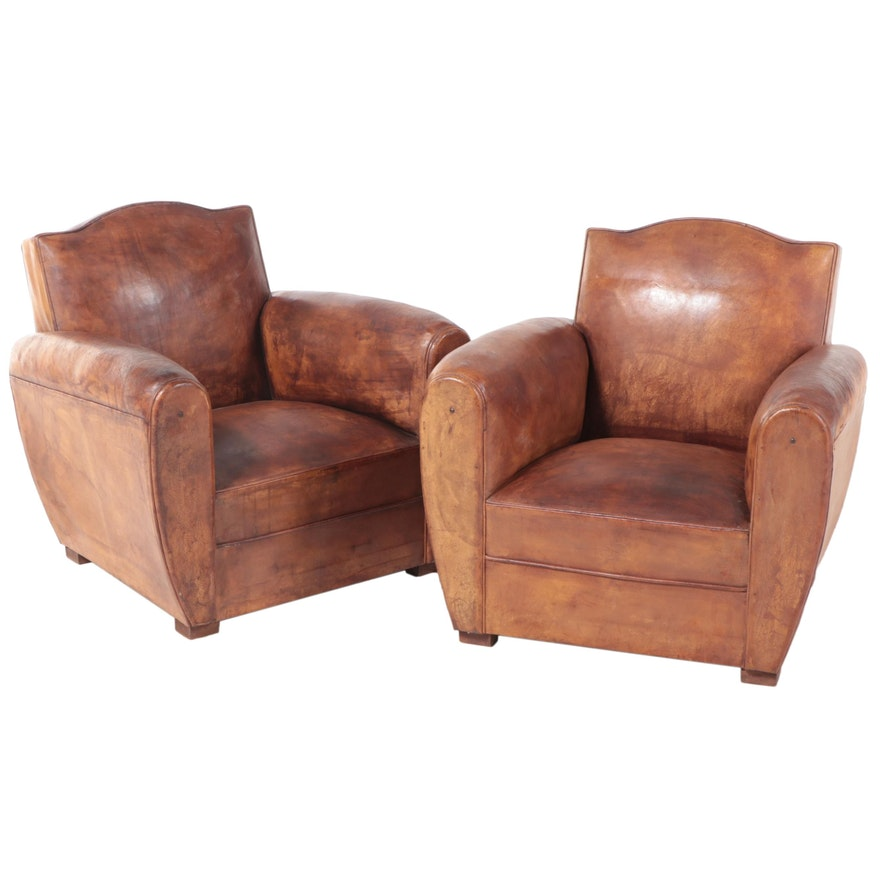 Pair of Parisienne Art Deco Leather Lounge Chairs, Early to Mid 20th Century