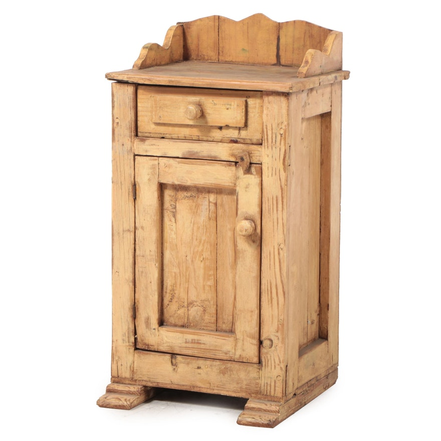 Spanish Colonial Style Waxed Painted Pine Nightstand
