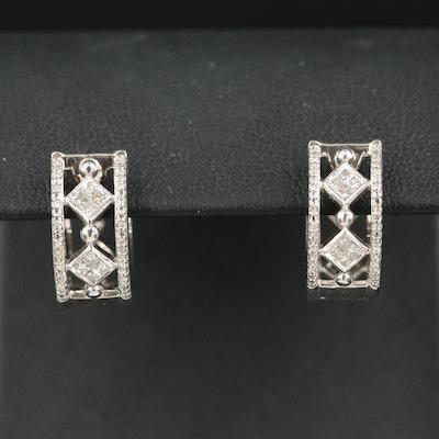 Sterling Diamond Openwork Hoop Earrings