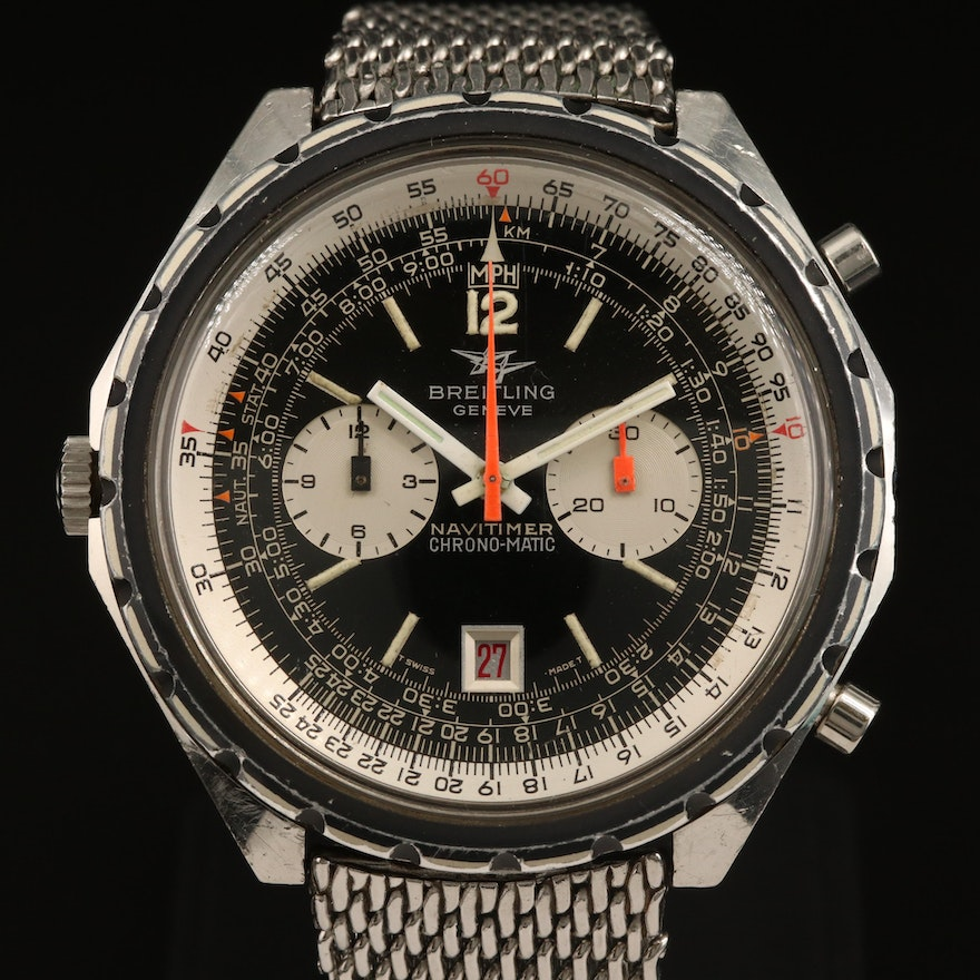 1969 Breitling Navitimer Chrono-Matic Stainless Steel Wristwatch