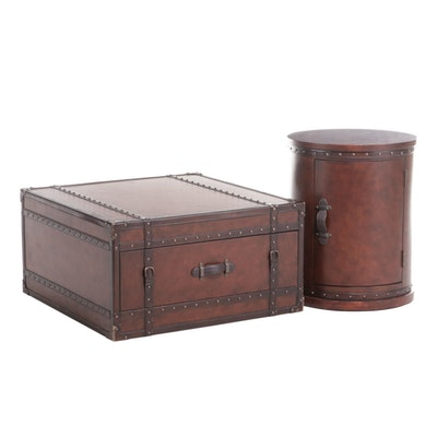 Flexsteel Faux-Leather Trunk-Form Coffee Table and Side Table