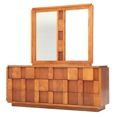 Lane Brutalist Walnut and Oak Nine-Drawer Dresser, circa 1970