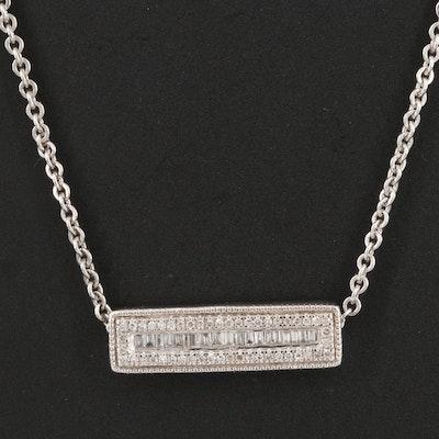 Sterling Diamond Bar Pendant Necklace