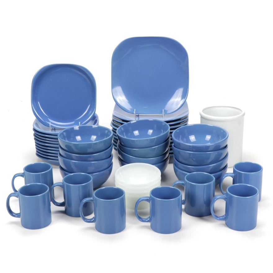 Gibson Blue Dinnerware, Fire King Bowls, and Utensil Holder, Late 20th Century