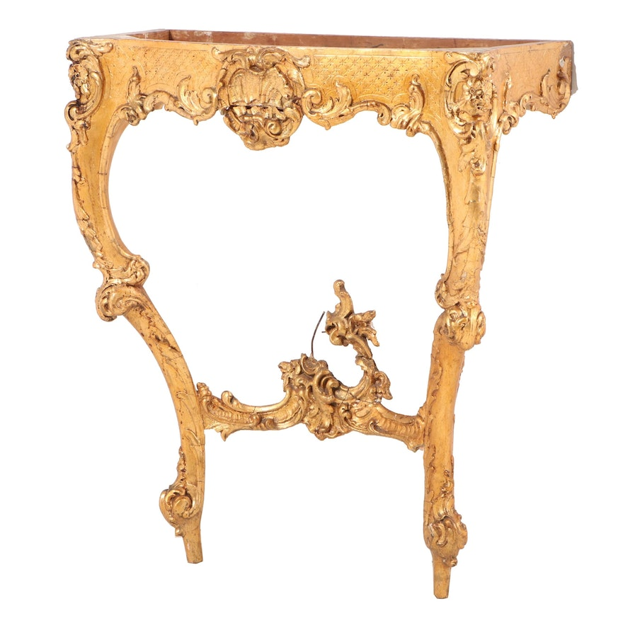 Rococo Style Giltwood Console Table Base, Early to Mid 20th Century