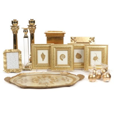 Florentine Tray, Brass Candlesticks, Gold Tone Frames and Other Decor