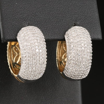 14K Two-Tone Gold 3.00 CTW Diamond Reversible Hoop Earrings