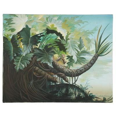 Dorothea S. Wendlandt Marshland Growth Oil Painting, Circa 2000