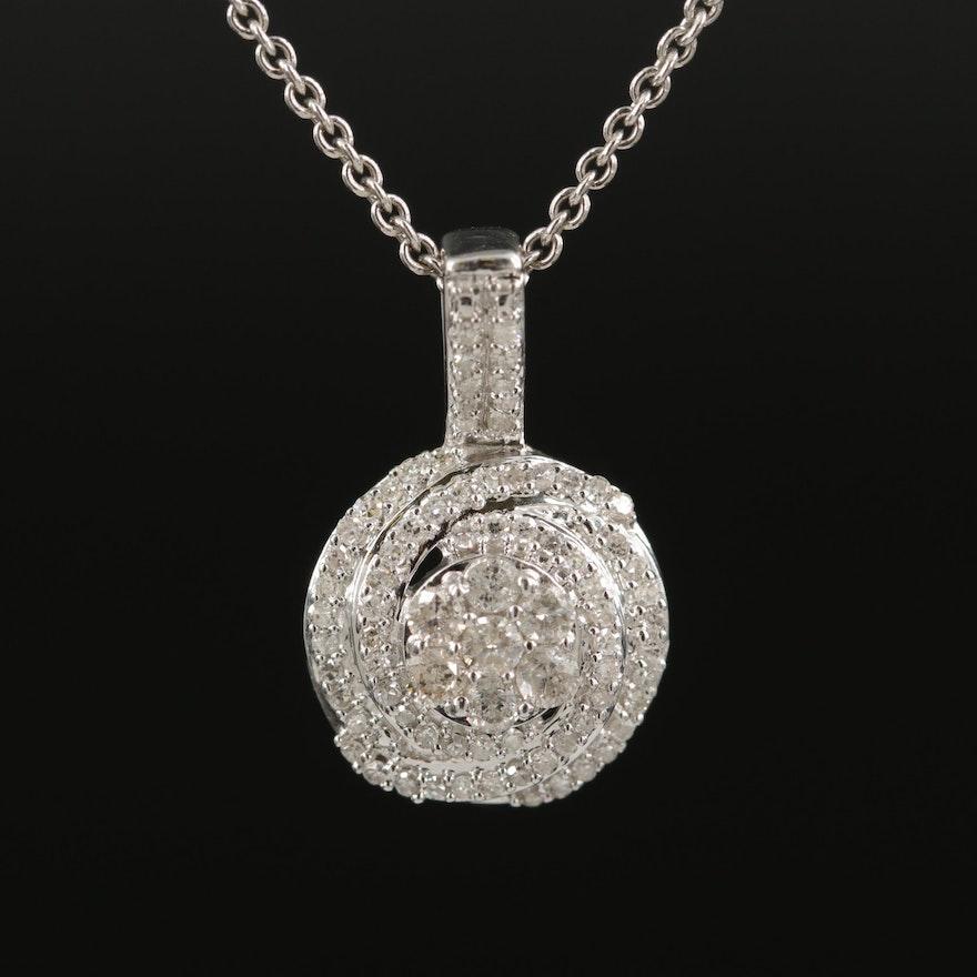 Sterling Diamond Swirl Pendant Necklace