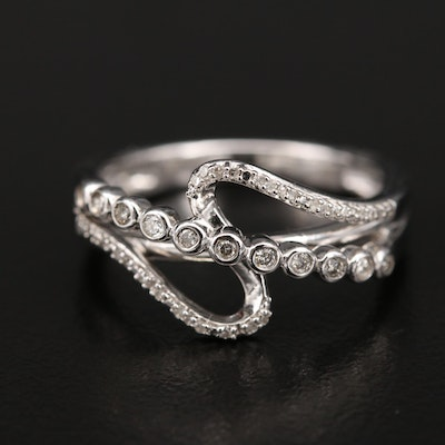Sterling Diamond Crossover Ring with Bezel Set Detail