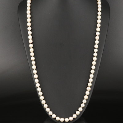 Endless Round Pearl Necklace