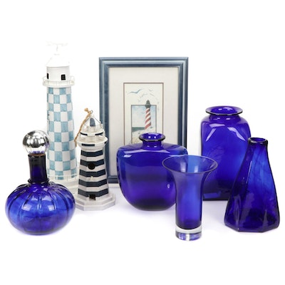 Lighthouse Themed Decor and Blue Glass Vases