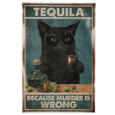 "Giclée of a Black Cat ""Tequila"""