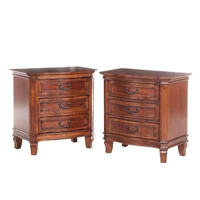 Pair of Liberty Furniture French Provincial Style Cherrywood Nightstands