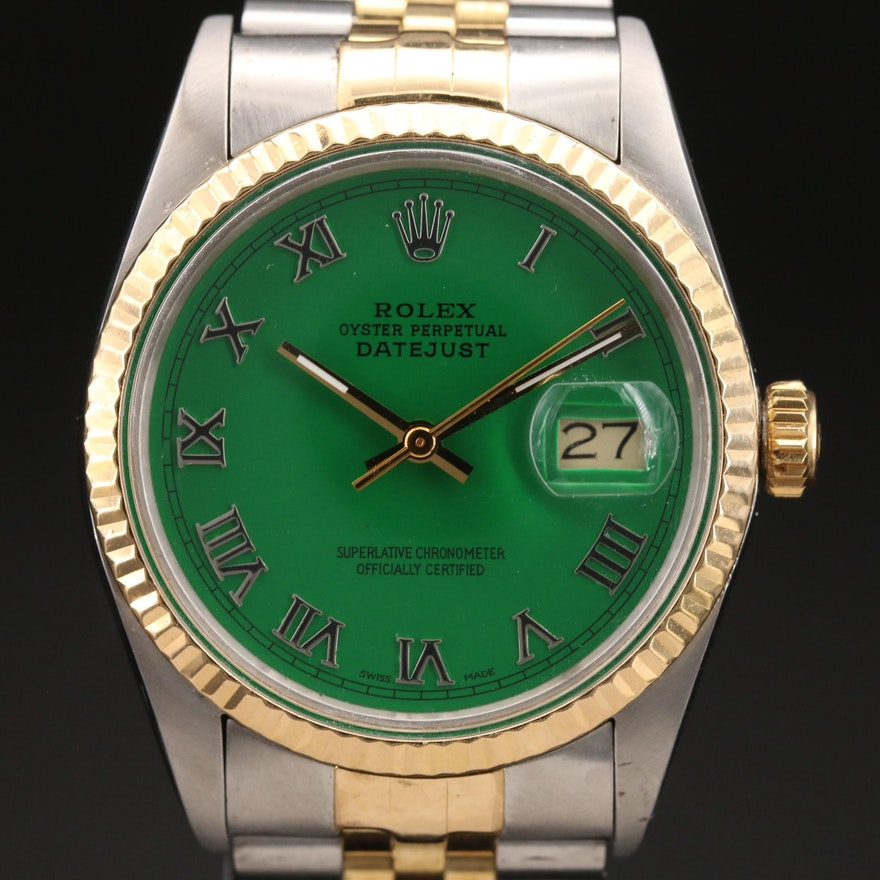 1985 Rolex Two Tone Datejust 18K and Stainless Steel Automatic Wristwatch