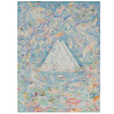"""Ronald D. Newman Abstract Oil Painting """"Twin Triangles"""""""