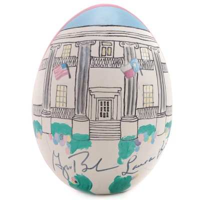 George and Laura Bush Signed Ostrich Egg with Scene of Texas Governor's Mansion