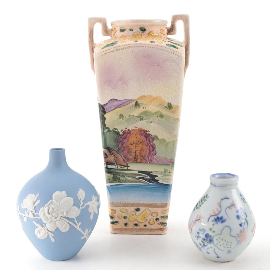 Wedgwood Jasperware Vase with Other Hand-Painted Ceramic Vases