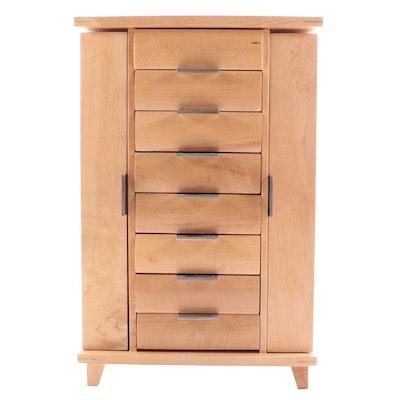 Wooden Table Top Two Door Jewelry Armoire