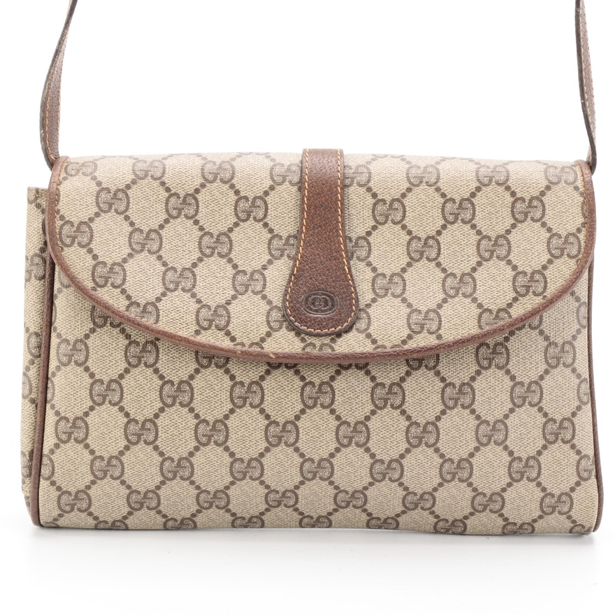 Gucci Crossbody Bag in GG Supreme Coated Canvas with Leather Trim