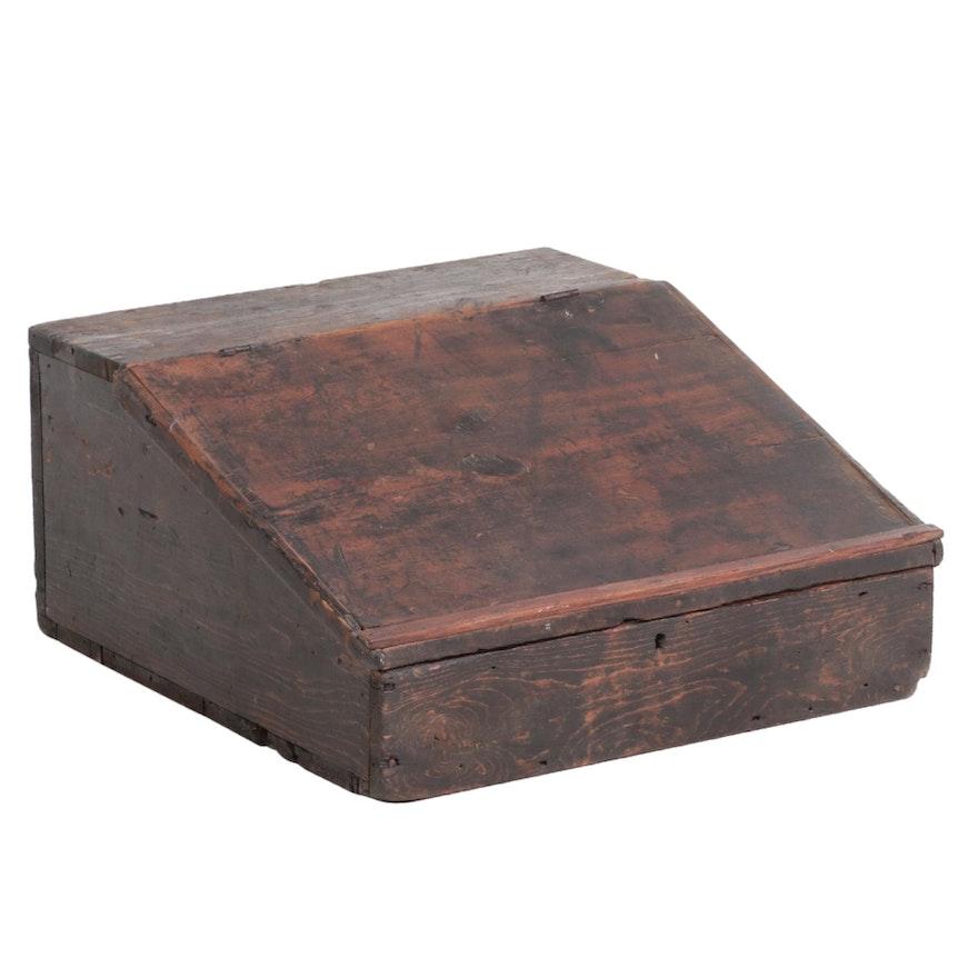 American Primitive Ebonized Pine Slant-Lid Tabletop Desk, 19th Century