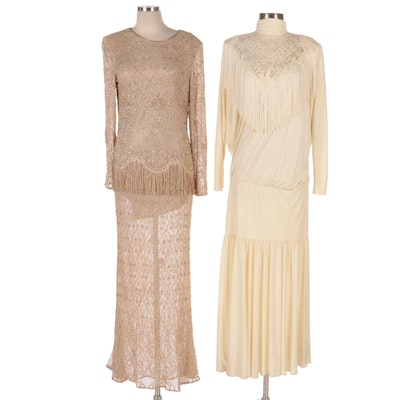 Montage Collection and Pat Richards Beaded and Fringe Embellished Dresses