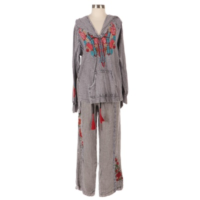Avani Hooded Tunic and Lounge Pants with Floral Embroidery