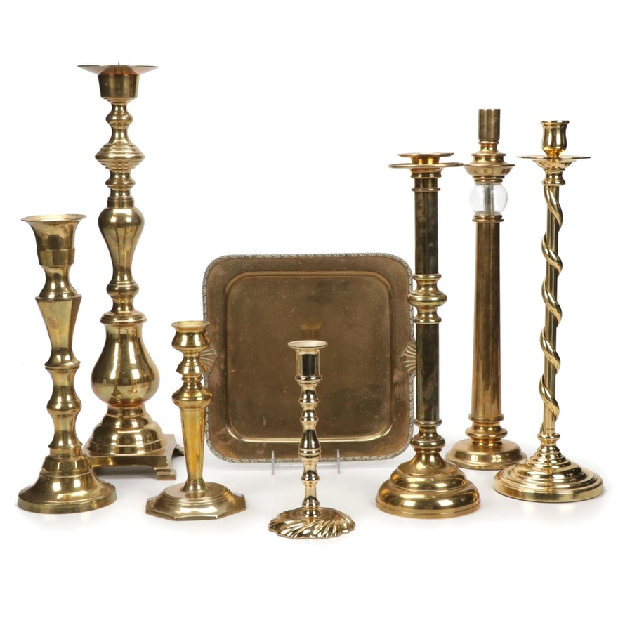 Decorative Craft Inc. Brass Candlesticks and Tray