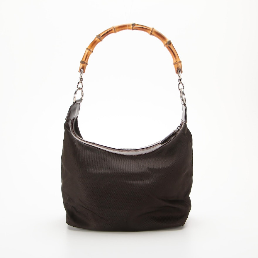 Gucci Bamboo Dark Brown Nylon Canvas and Leather Shoulder Bag