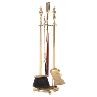 Brass Finish Metal Hearth Tool Set