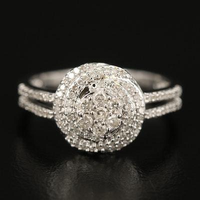 Sterling Silver Diamond Swirl Cluster and Split Shoulder Ring