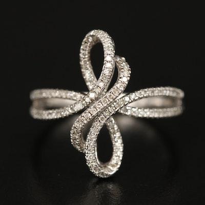 Sterling Silver Diamond Ribbon Twist Ring