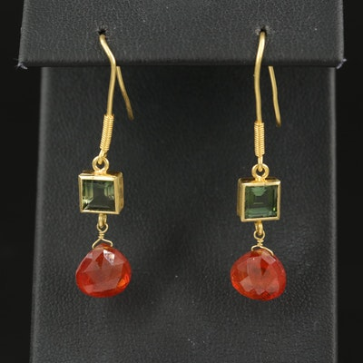 18K Spessartine and Tourmaline Earrings